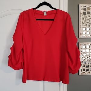 H&M Red Ruched Sleeve Blouse